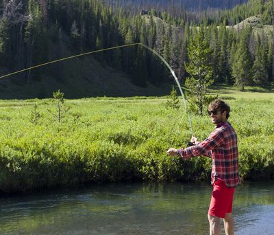 *July 24 2012 fly fishing in Bliss Creek Meadow Wyoming on Course Wilderness Horsepacking