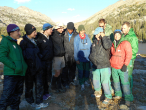 NASA astronaut candidates chat with Reid Wiseman via satellite phone during their NOLS expedition in September 2014.