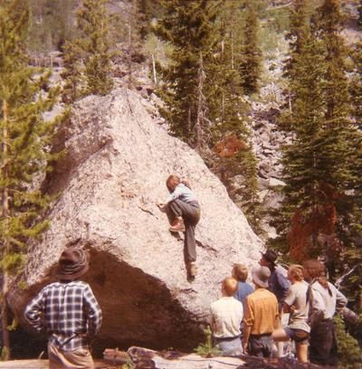 Kathy Fenton - bouldering, NOLS 1971