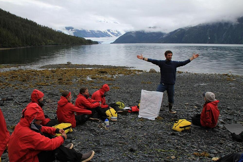 Instructor Sean Williams gives a class on glaciology, Prince William Sound, Alaska'