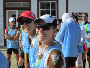 Casey Adams and Marina Fleming, part of a four-person team, prepare to start in South Pass City on July 17. Jeanne O'Brien photo