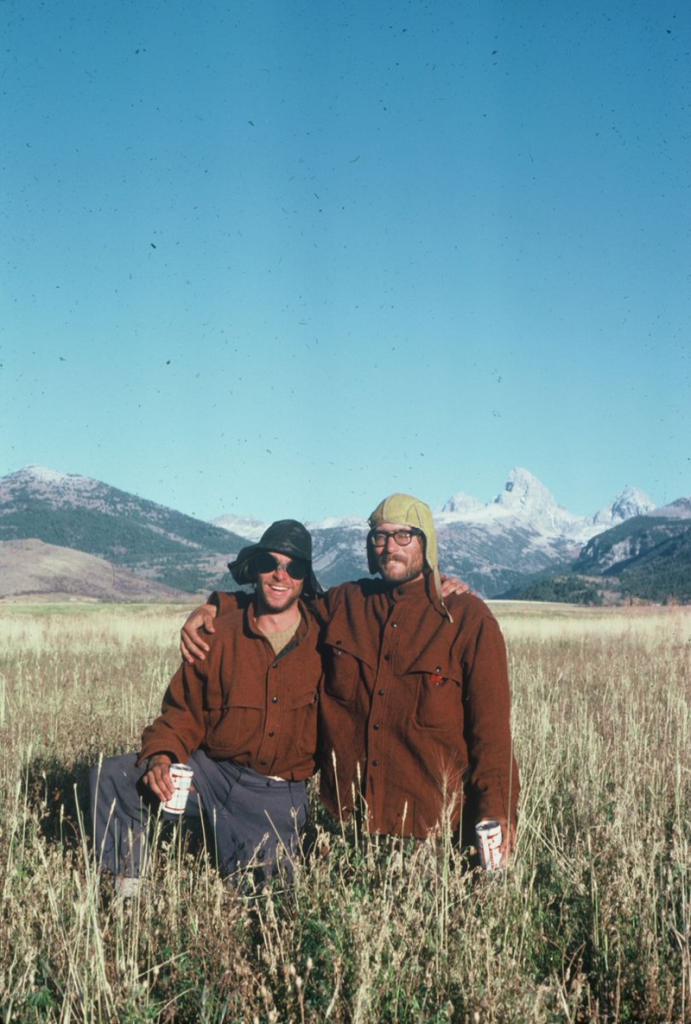Jay and tent mate Jim Acee with the Grand in the background. Taken at the NOLS base in Driggs after their attempt.