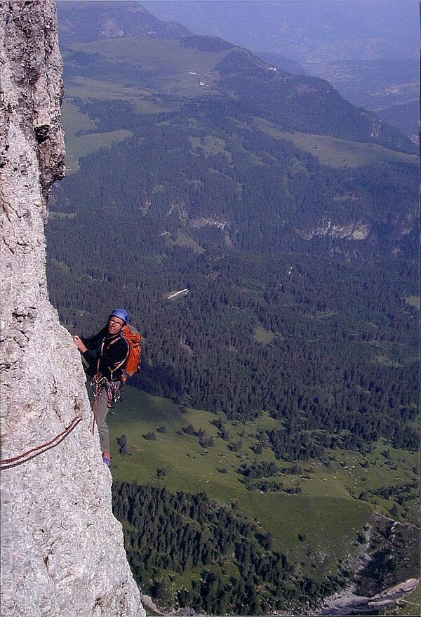 Peter Metcalf climbing the Dolomites