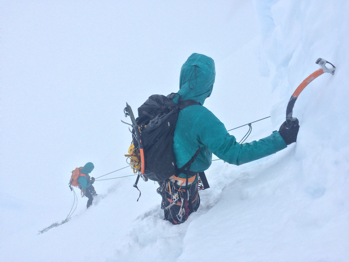 Descending Cerro Fantasma in whiteout conditions.