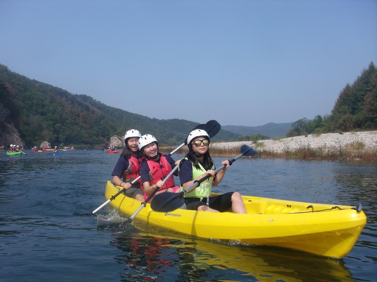 Exploring by river kayak