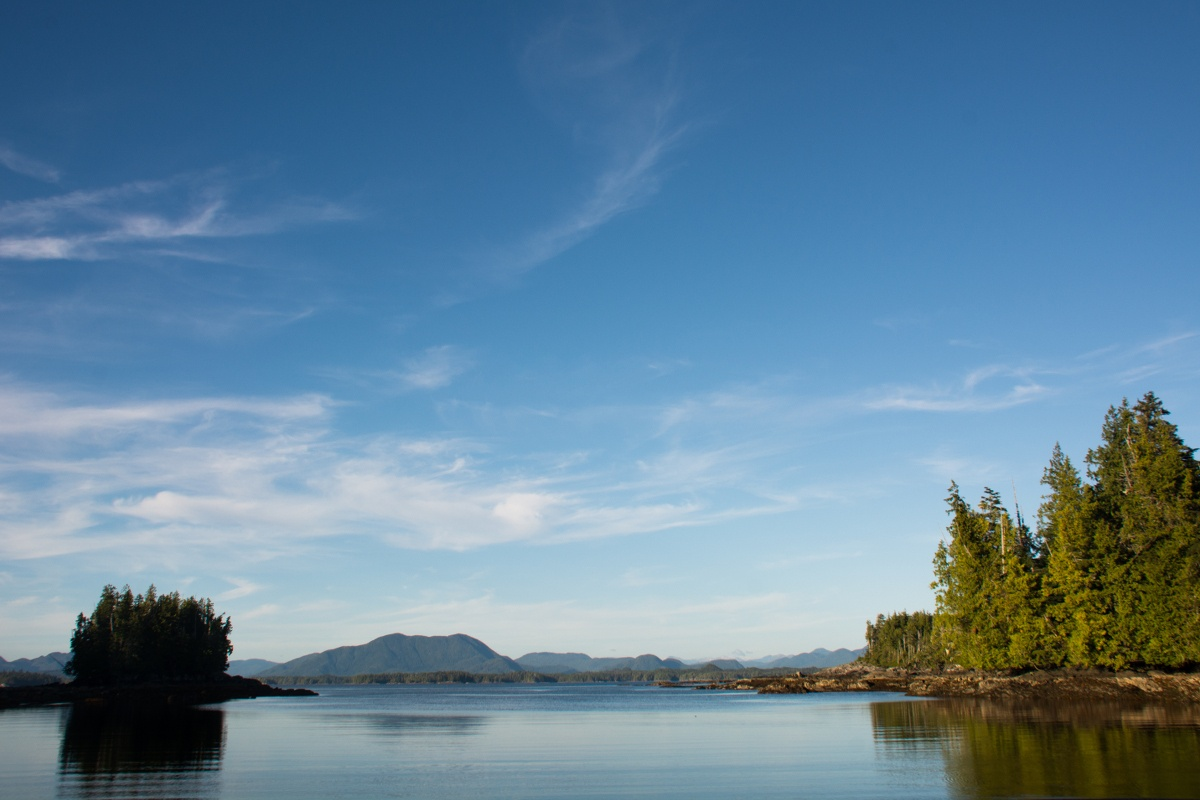 Blue skies over the water and islands