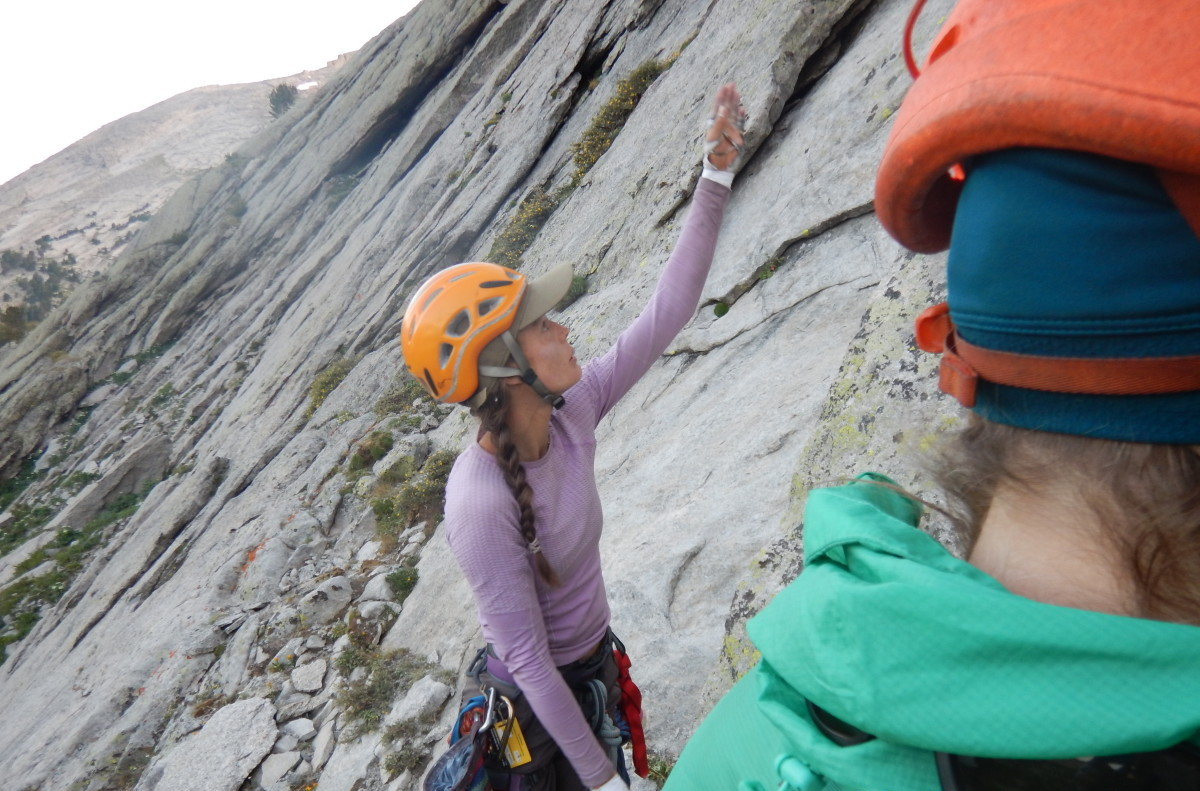 Preparing to traditional rock climb in the Wind River Range