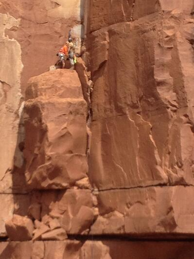 Rescuers near the rescue site on the rock wall