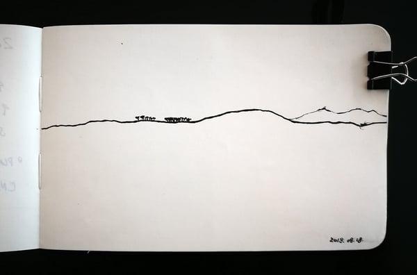 Faraway umbrella thorn acacia sketch