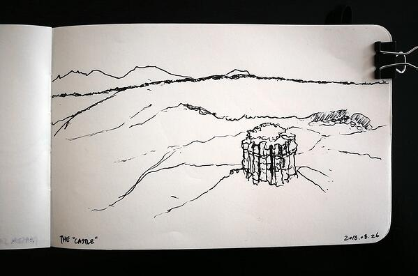 sketch of the castle at Olduvai Gorge