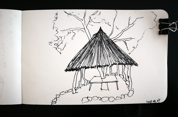 A roadside hut sketch