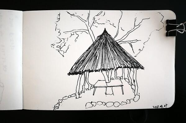 A roadside hut sketch