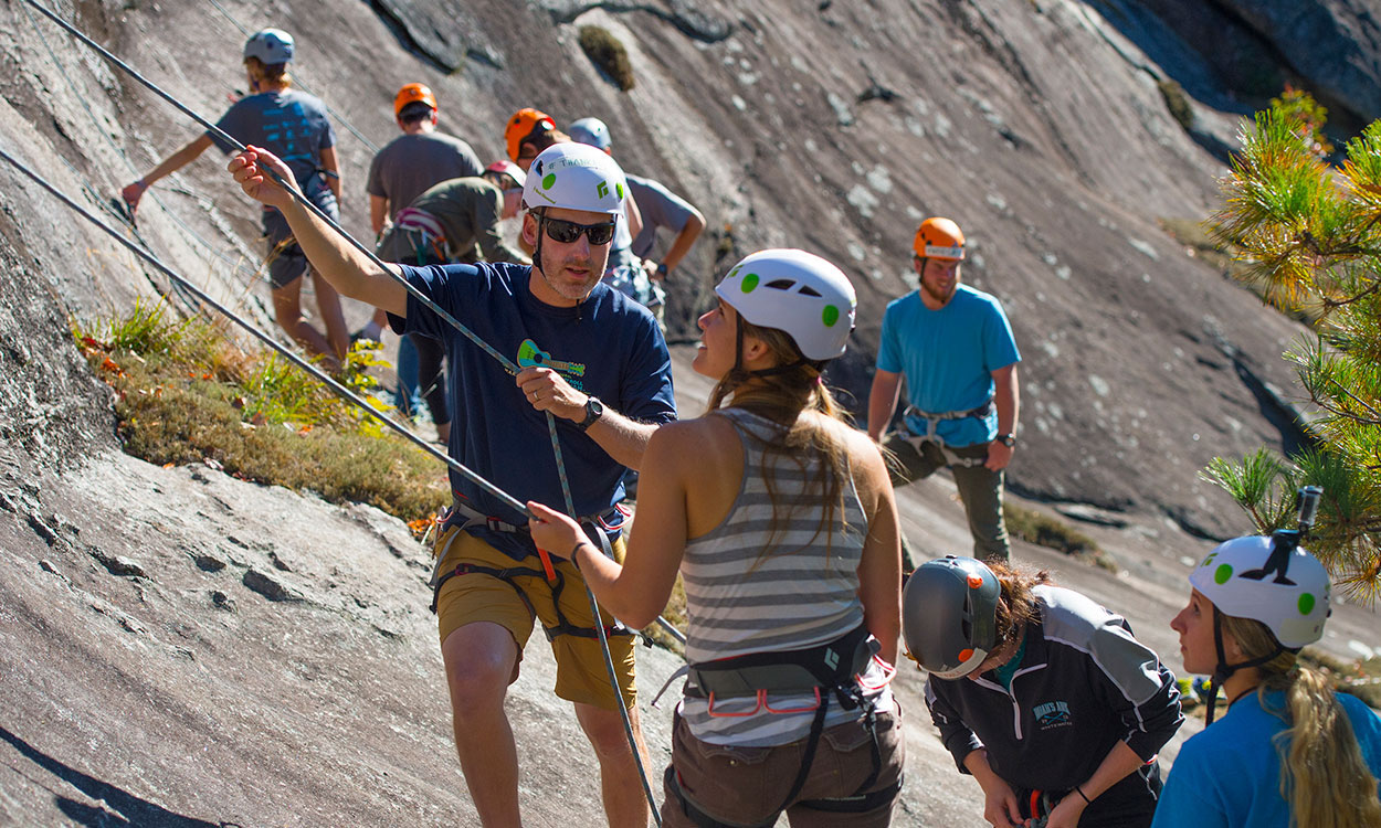 college students learn rock climbing in an Intro to Outdoor Pursuits class