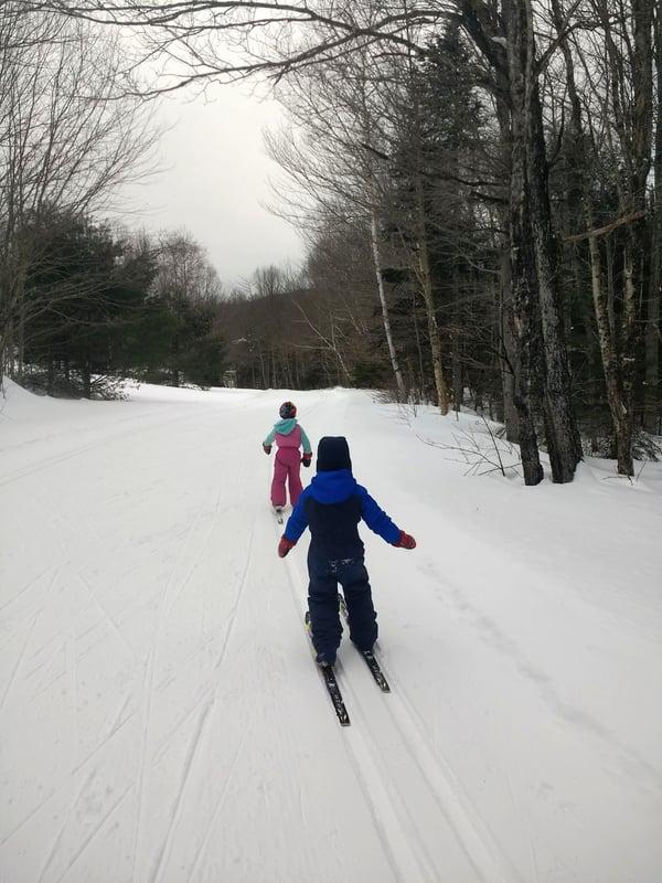 Two children cross country ski
