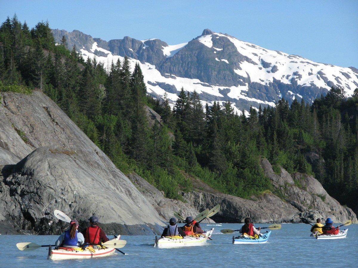 Group sea kayaking in Alaska