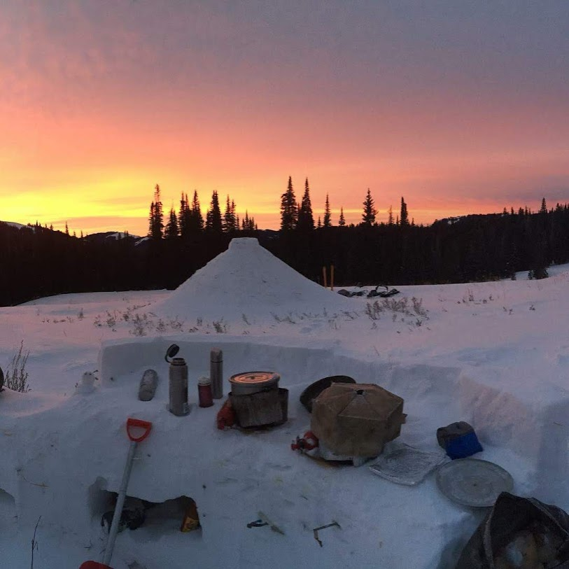A snow kitchen at a winter campsite