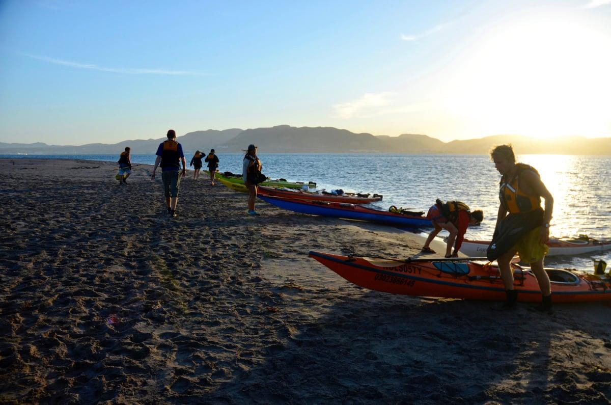 Sea kayaks resting on shore