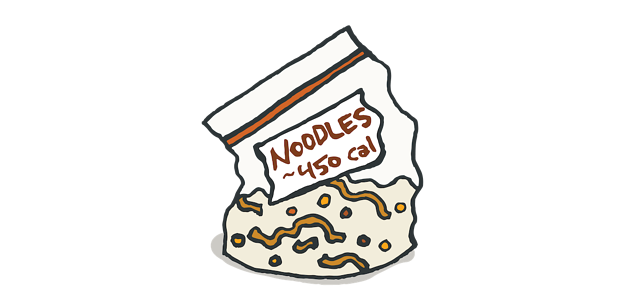 drawing of a labeled Ziploc with noodle and veggie instant meal