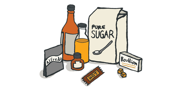 drawing of sauces and seasonings including bag of sugar, boullion, hot sauce, and alfredo packet