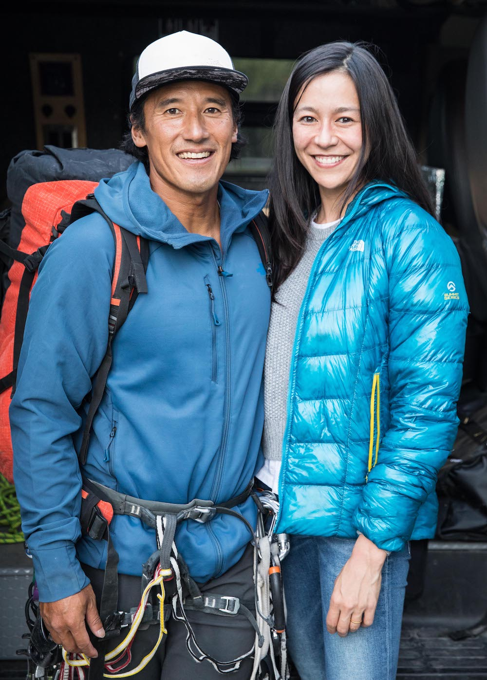 Jimmy Chin and his wife, E. Chai Vasarhelyi smile together
