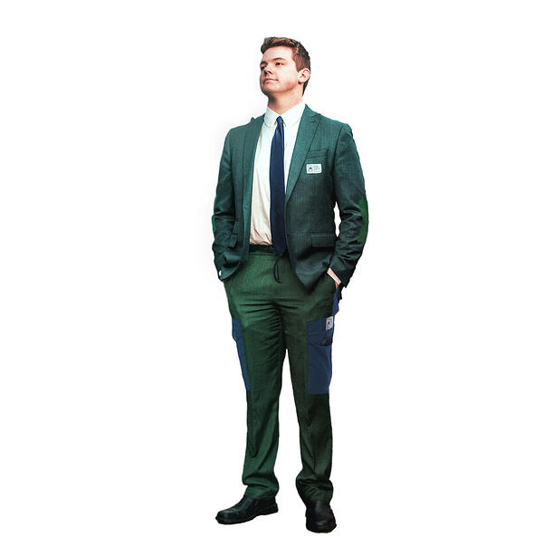 Person wearing a spoof NOLS product of a tuxedo made of classic NOLS wind pants