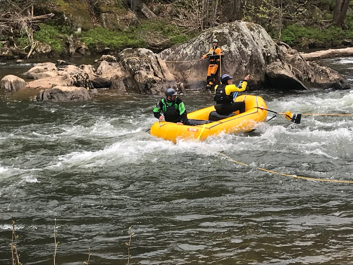 practicing swiftwater rescue