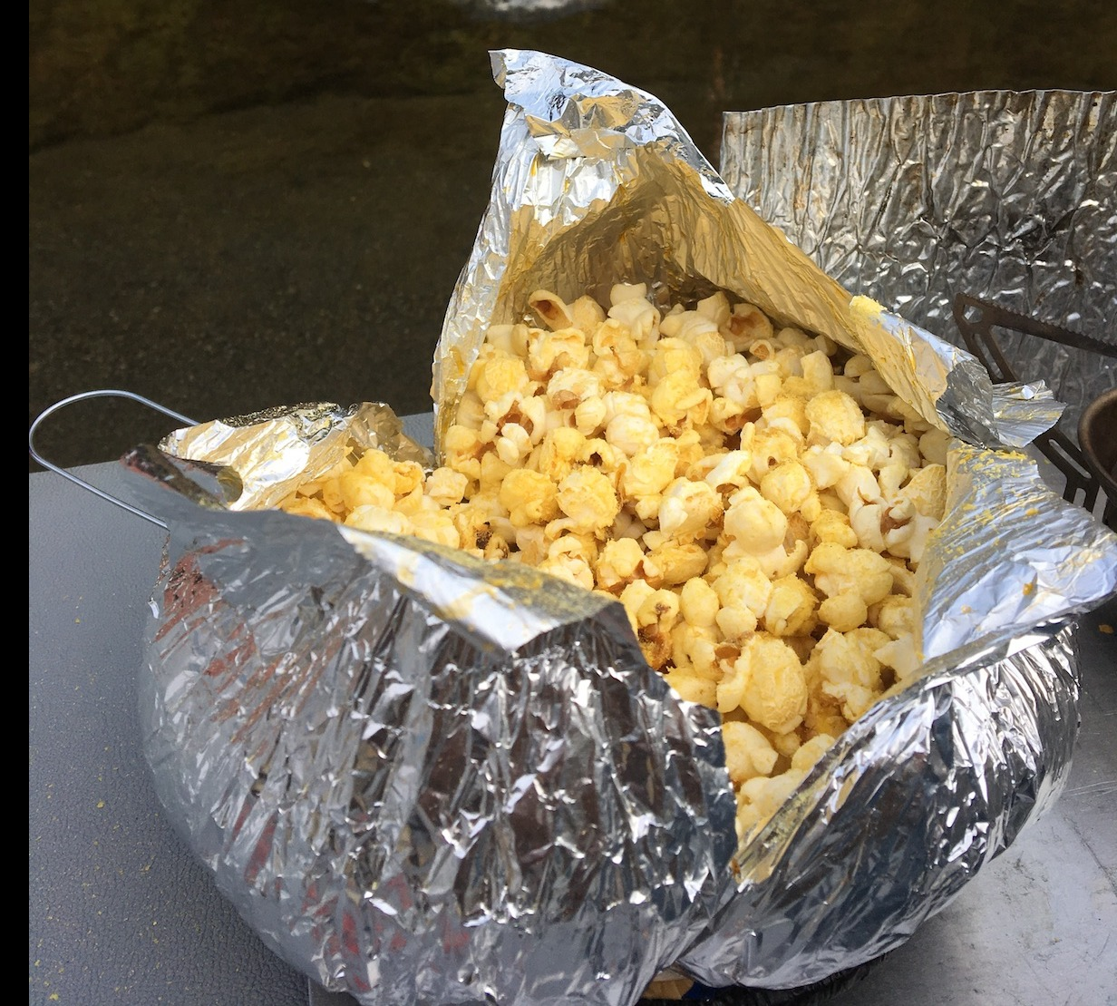 Popcorn wrapped in tinfoil