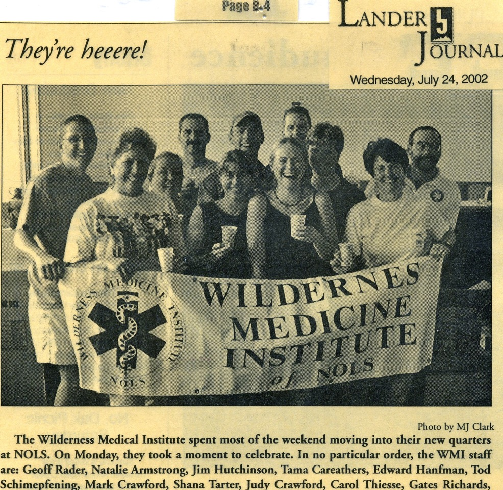 Photo of a black and white newspaper story announcing the arrival of WMI to NOLS in Lander