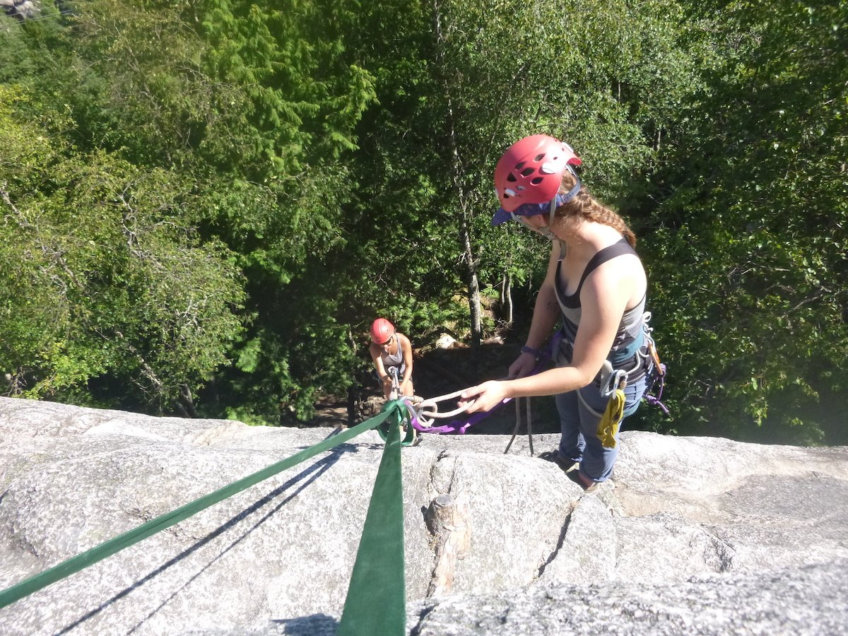 Managing a belayed rappel while instructing in Squamish
