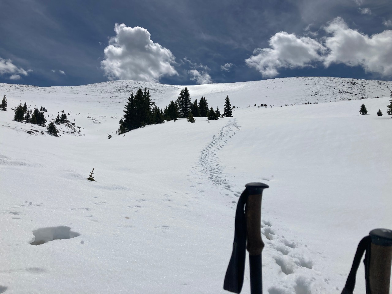 Snowy peak with footprints leading out of sight and ski poles in the foreground