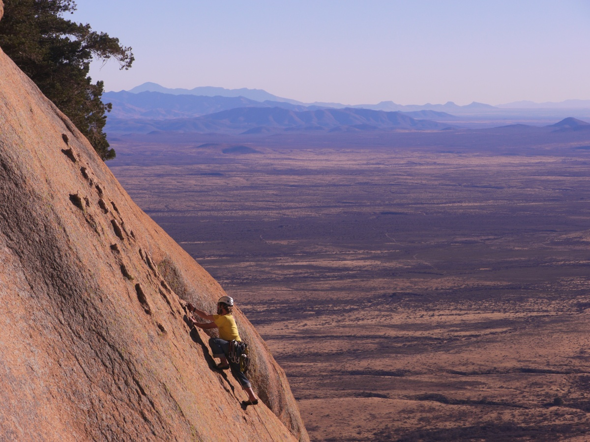 Person climbing at Cochise Stronghold in Arizona