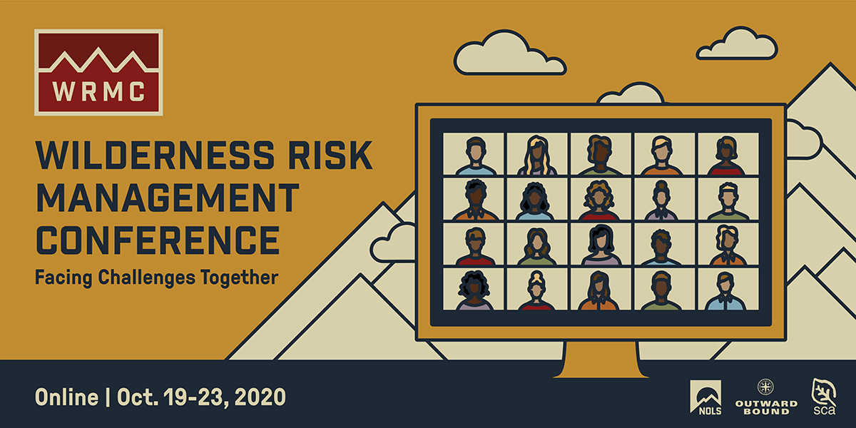 Banner advertising the 2020 Wilderness Risk Management conference with stylized artwork of a laptop overlaying a mountain scene