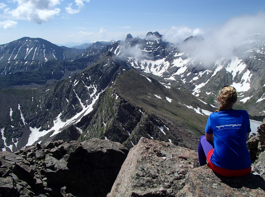 The author looking out at the Sangre de Cristo mountains in southern Colorado from 13,931 Mount Adams