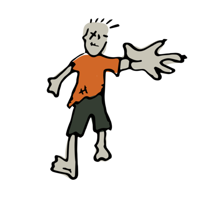 One illustrated zombie has its arm stretched toward the reader. His hand is large, ready to grab something.