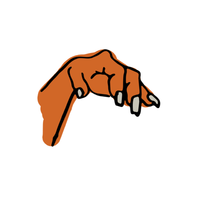 An illustrated zombie's hand that looks like a claw. It is ready to grab something. It's finger nails are overgrown.