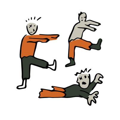 A group of three illustrated zombies. Two walk with their arms out while one crawls. Their mouths are open and they are hungry.