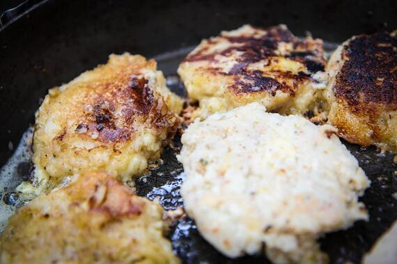 Corn cakes in pan, photo courtesy Alex Chang, Cornell Leadership Expedition