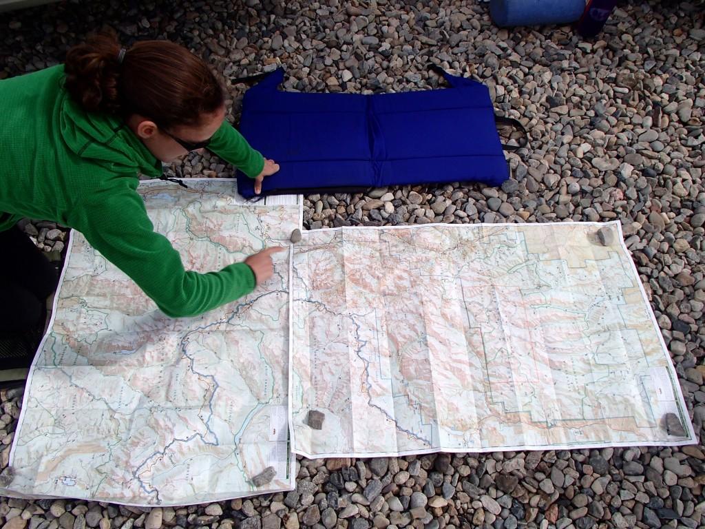 Elizabeth geeking out about Weminuche Wilderness maps.