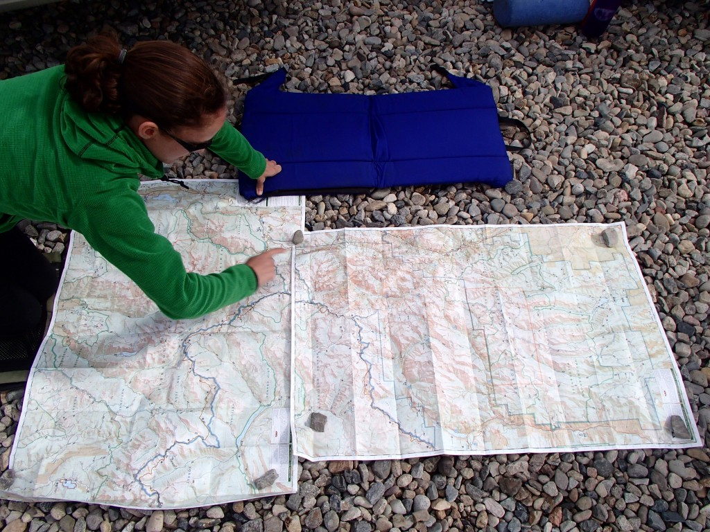 Elizabeth geeking out about Weminuche Wilderness maps.