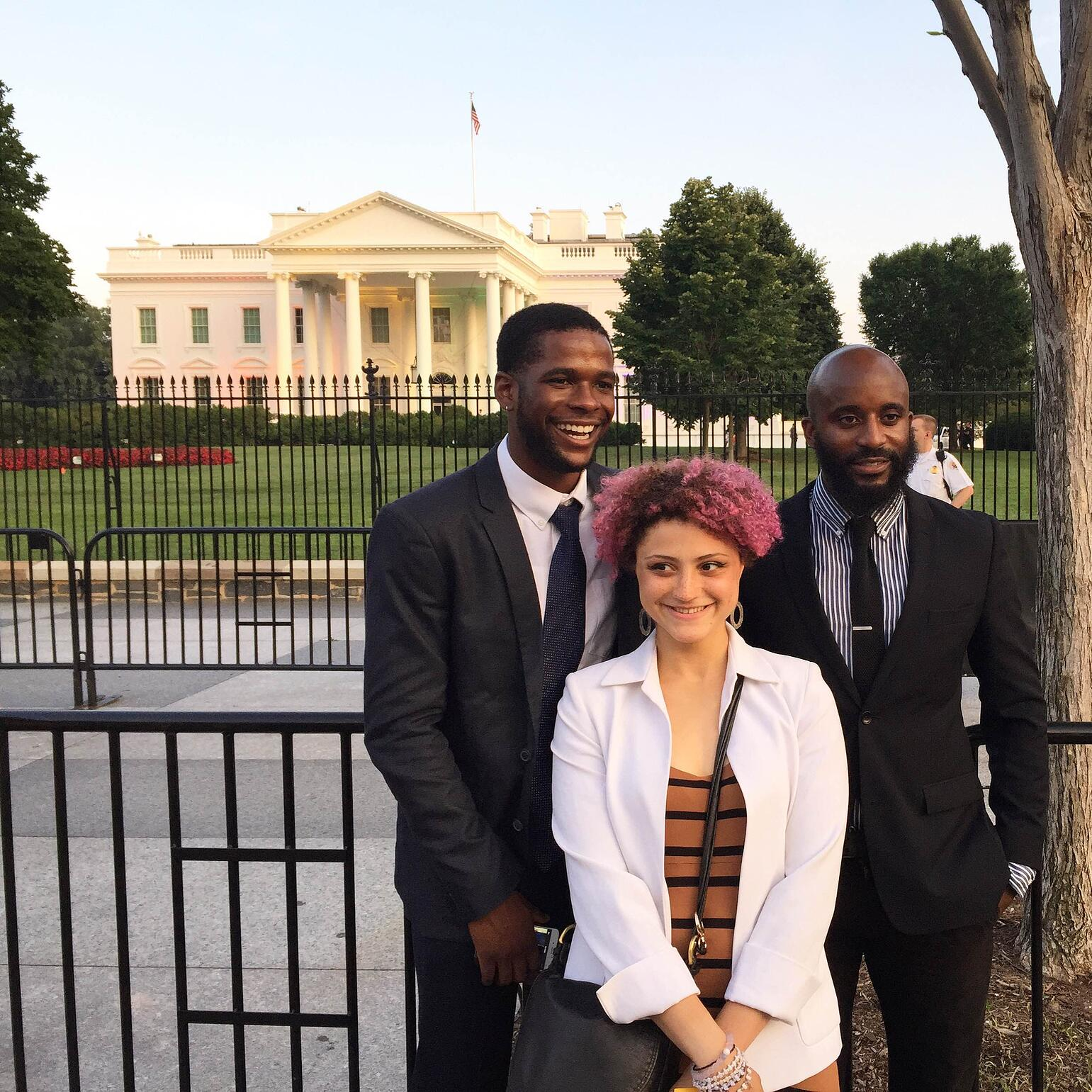 Expedition Denali team members in front of the White House