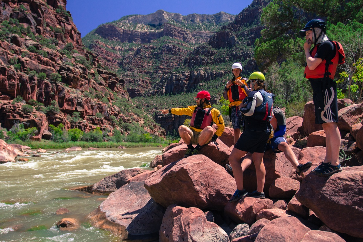 Group scouting a rapid from the bank of the river