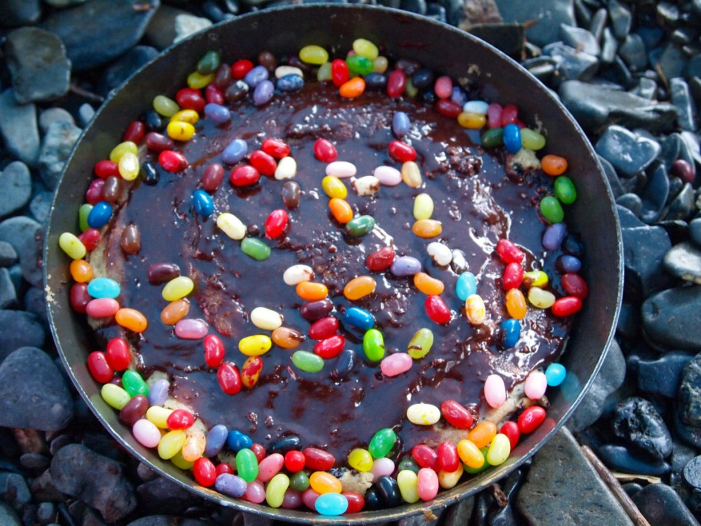 Chocolate cake with jelly beans