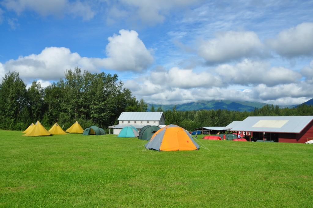 Tents pitched at NOLS Alaska.