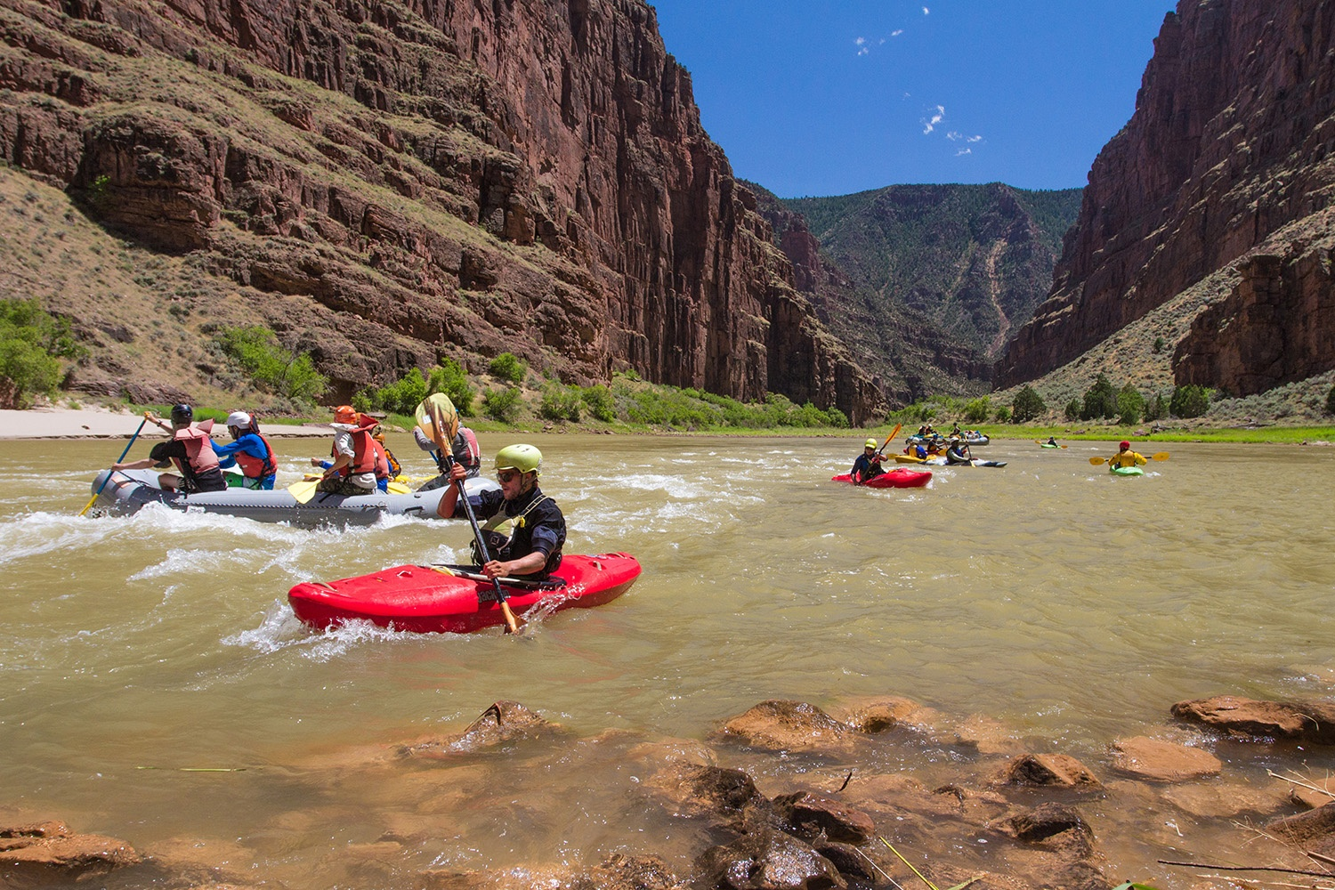 Group paddling in kayaks and boats on a river
