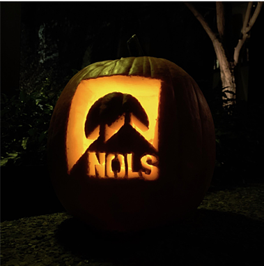 Illuminated NOLS Logo on a pumpking