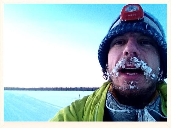 Pete Ripmaster has icicles hanging from his mustache and beard