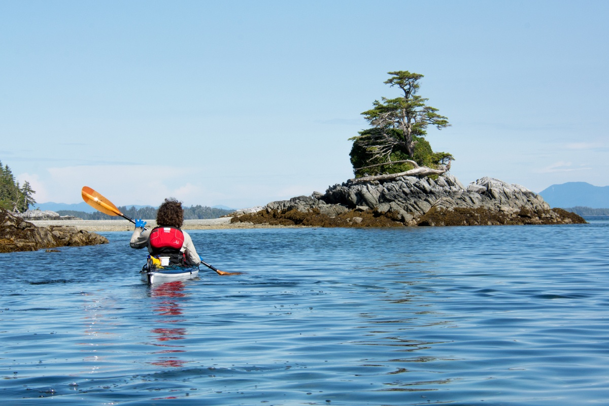 Sea kayaking with bonsai island in the background