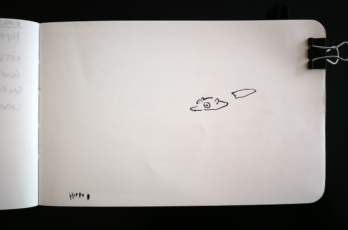 Hippo swimming sketch