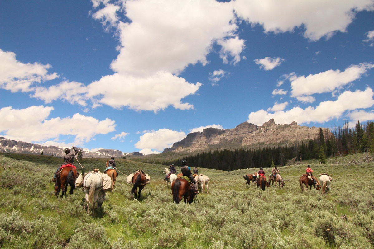Students horsepacking through field with rocky ridge in the background