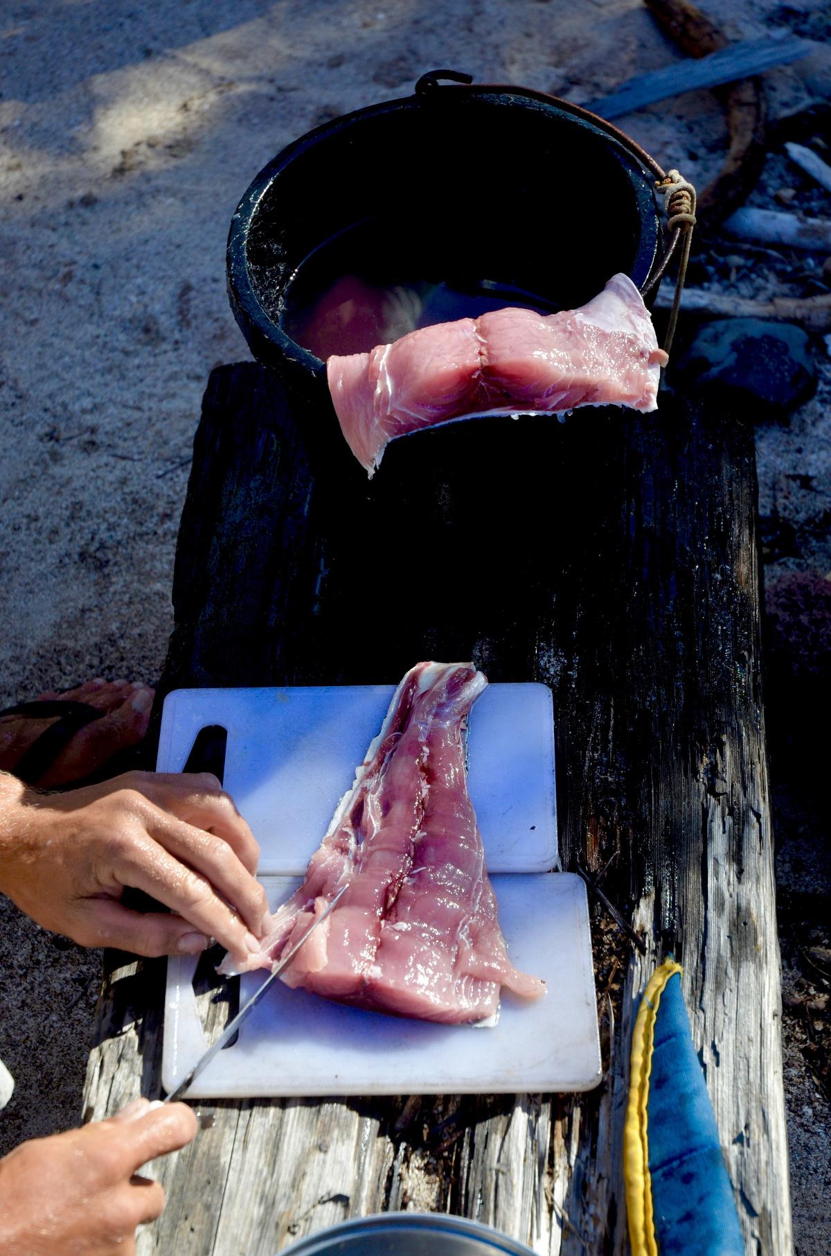 Preparing fresh fish